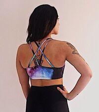 Strappy galaxy print sports bra space purple pink gym top lycra activewear gym