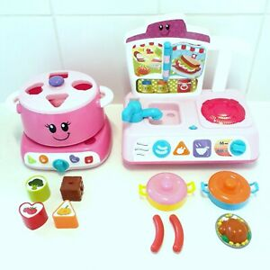 Children's Educational Cooking Toys Pink Cooking Pot & Kitchen Sink Cooktop Toys