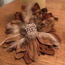 Rose Feather Flower Brooch Pin Corsage Orange Set 4