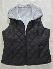 WEATHERPROOF GARMENT CO Reversible Black Quilted Faux Fur Vest Misses Size S EUC