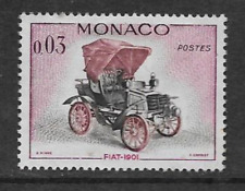 MONACO POSTAGE MINT HINGED COMMEMORATIVE STAMP - 1961 - CARS - FIAT 1901