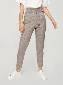Miss Selfridge Womens Beige Check Paperbag Trousers Belted Bottoms Pants
