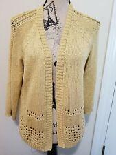 NWT Chicos Sweater Open Front sz 1 Luna Shine Cardigan 3/4 sleeve raffia Gold
