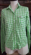 Hollister California Green/White Checkered Long Sleeve Button Down Size Small