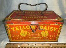ANTIQUE YELLOW DAISY TOBACCO LUNCH PAIL TIN LITHO CAN SCRANTON PA COUNTRY STORE
