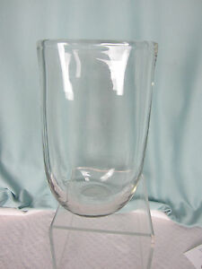 Tall Oval Vase Clear Glass Heavy Crystal Over 9 inches tall 5 ins wide EPOC