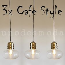 3 x Bronze GLASS HANGING PENDANT Ceiling Lights Lamps Cafe Edison Industrial