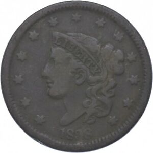Tough - 1838 Young Head Large Cent - US Early Copper Coin *447