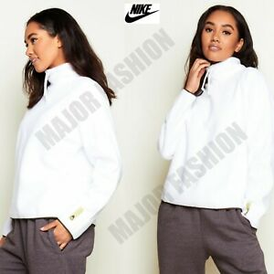 Ladies Womens Nike White Fleece Pull Over Jumper Top Thick Warm XS S M L