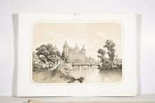 Litho Orig. XIX°Album Vendéen Château de JOSSELIN Morbihan Architecture Bretagne