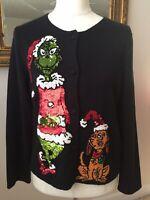 Michael Simon Dr. Seuss The Grinch Womens M Medium Cardigan Ugly XMAS Sweater