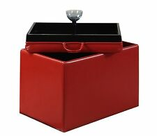 New Convenience Concepts 143523R Designs4Comfort Accent Storage Ottoman, Red