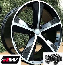 "Dodge Charger Wheels 20"" inch SRT8 20x9"" Gloss Black Rims 5x115 & Black Lug Nuts"