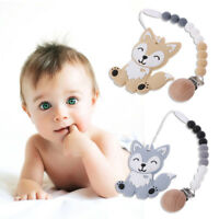 Dog Silicone Beads BPA Free Teether Pacifier Chain Clip Baby Teething Necklace