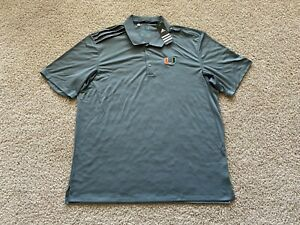NEW Adidas Miami Hurricanes Climacool performance golf polo shirt