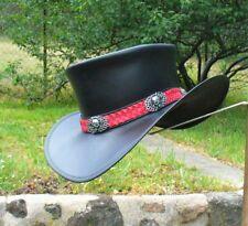 BLACK LEATHER WESTERN STYLE EL PASO STEAMPUNK HAT WITH HANDMEADE SKULL BUCKLES