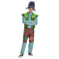 Mens Trolls World Tour Branch Halloween Costume + Headpiece Wig Adult M XL 2XL