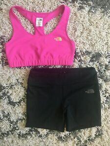 EUC North Face Set Pink Sports Bra Black Bike Yoga Compression Shorts Small Med