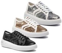 GEOX RESPIRA OTTAYA D92BYE scarpe ragazza donna sneakers pelle paillettes zeppa