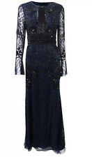 Adrianna Papell Long Sleeve Fully Beaded Navy Long Formal Gown New Sz 4 $349