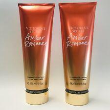 2 Victoria's Secret Amber Romance Fragrance Body Lotion Mist Collection 8 oz New