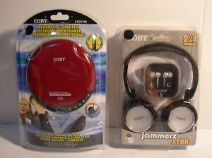 Coby CXCD109PK Slim Personal RED CD Player & Jammerz Headphones/Earphones CV215