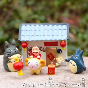 1 set Ghibli Totoros & Mei Celebrating Lunar New Year for Miniature Garden Decor