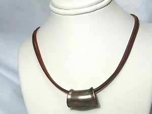 SILPADA N1129 Sterling Silver Brown Leather Cord Necklace w/ Pendant.  #11i