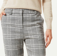 Ladies Trousers M&S Grey Check Relaxed Straight Leg Stretch BNWT Marks Women