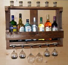 Wine Rack Rustic Handmade Wall Mounted Wood Kitchen Shelf Brown Wine Storage