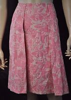 Elie Tahari Pink/Ivory Floral Print Pleated Skirt Top Stitched Lined Size 8