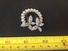 SILVER COLOUR AB CRYSTAL Diamontee BUTTERFLY Vintage Style CUTE PIN BROOCH BADGE