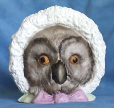 Antique Bisque FAIRY LAMP NO Glass Eyes Pink Bow Bonnet Owl Candle Holder Cup