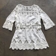 New Anthropologie White Lace Crochet Cut Out Modern Boho Tunic Blouse - Medium