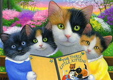 Mama cat three kittens story time spring garden OE aceo print art