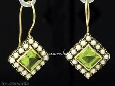 CE165 SUPERB Genuine 9ct 9K Solid Gold NATURAL Peridot & Pearl Drop Earrings
