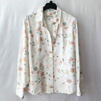 Orvis Women's Button Up Shirt Sz 18 White w Multicolor Floral Long-Sleeve Cotton