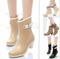 New Womens Waterproof Med Calf Rain Boots Block Med Heels Antiskid Rubber Shoes