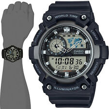 Casio AEQ200W-1A Men's World Time Telememo Analog Digital Watch Alarm Chrono Map