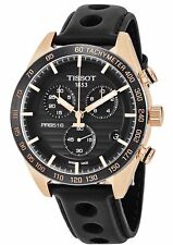 Tissot PRS 516 T1004173605100 Gold Chrono Black Leather 42mm Swiss Mens Watch