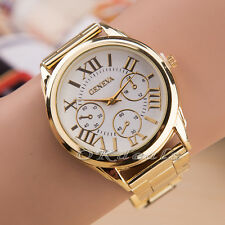 Women Lady Luxury Geneva Gold Stainless Steel Roman Analog Quartz Wrist Watch