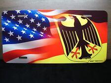 GERMAN  AMERICAN WAVING FLAG METAL LICENSE PLATE FOR CARS  Deutschlandfahne