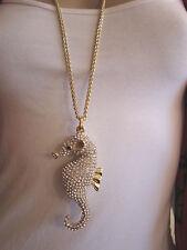 Damen Hals Kette Modekette Lang XL Strass Seepferdchen Gold 3D Optik Bling Bling