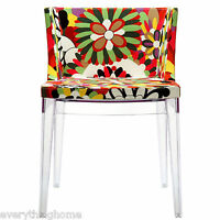 Fabric Flower Pattern Accent Armed Dining Chair Clear Acrylic Frame Madam Style