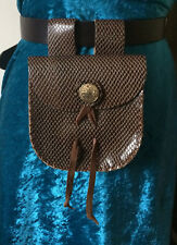 Brown leather belt bag purse mediaeval renactment LARP SCA Game of Thrones