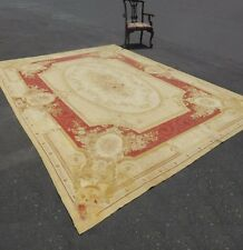 New listing Large Vintage Hand Knotted Tan Floral Aubusson Tapestry Area Rug Made In France