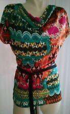 Top Tunika Tshirt Bluse Jersey Gr. 32-34 Bunt Muster NEU BodyFlirt
