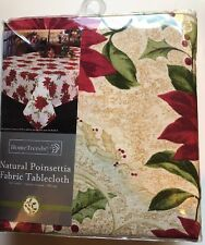 HomeTrends Natural Poinsettia Fabric TableCloth 60X102 Oblong Cotton NEW Table
