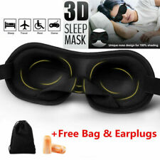 3D SHAPED SPONGE BLINDFOLD EYE MASK SLEEP COVER TRAVEL SOFT WITH EAR PLUGS & AID