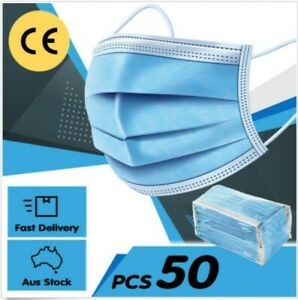 Face Mask x 50 3 Ply Soft Medical Surgical Anti Dust & Fluid Disposable FBE 98%
